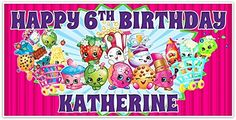 Shopkins Birthday Banner Personalized Party Backdrop Decoration * You can get additional details at the image link.