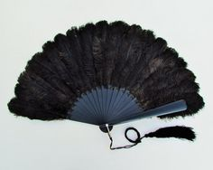 Antique black ostrich feather fan antique by mathildasattic Flapper Accessories, Craft Art, Gothic Wedding, Ostrich Feathers, Mother Of Pearl Buttons, Hand Fan, Painting On Wood, Vintage Black, Tassels