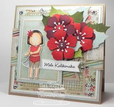 I made this card for the MFTWSC102 with the super cute PI Hula Girl and used the Hibiscus Die-namics and the Poinsettia Die-namics.