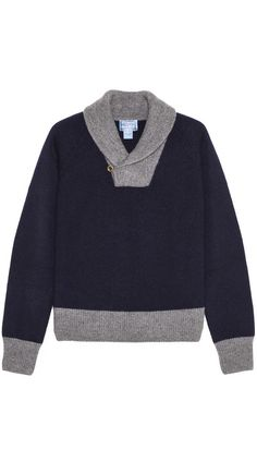 Refined shawl-collar #sweater with suede elbow patches.