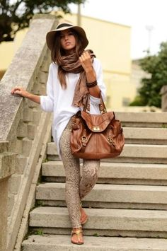 neutral colors, patterned jeans, with oversize accessories, gold, and the perfect hat