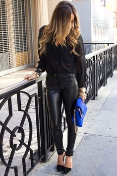 Leather fashion blue black heels leather purse fashion photography