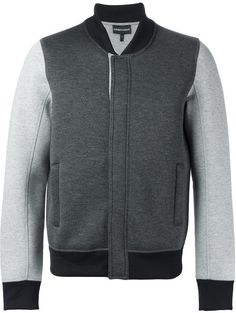 $354, Emporio Armani Contrasting Sleeves Bomber Jacket. Sold by farfetch.com. Click for more info: https://lookastic.com/men/shop_items/347603/redirect