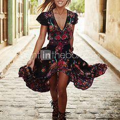 Swing Robe Femme Sortie / Plage Vintage,Fleur V Profond Maxi Manches Courtes Noir Polyester Eté / Automne Taille Normale Micro-élastique - EUR €14.10