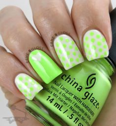 Pretty neon nail design for summer (using China Glaze Grass is Lime Greener) - IG gamengloss FB GAME N GLOSS