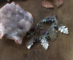 Charm bracelet with real oak leaves silver-plated by Galvanart