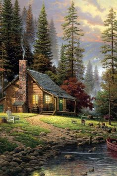 cabin in the woods, by Thomas Kinkade
