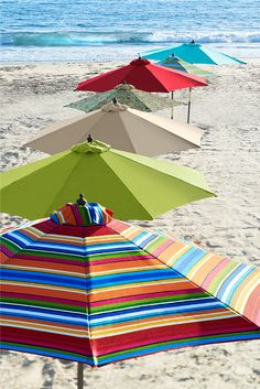Whether you're partial to stripes or solids, eclectic or traditional, Pier 1's vibrant outdoor umbrella collection has that just-right shade for you. Pagoda-style? Tilted? Extra-large? We've got it all, so you're always covered. Not sure where to start? Check out our bright, colorfast, water-repellent Citron Umbrellas. Pictures To Paint, Painting Pictures, Beach Pictures, Summer Breeze, Summer Fun, Blue Beach, Beach Fun, Beach Party, Umbrellas Parasols