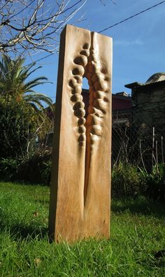 Wood sculpture Modern Abstract Contemporary Avant Garde Sculptures or Statues or statuettes or statuary sculpture by artist Liliya Pobornikova titled: 'Natural Forms (Tall Carved Vertical Wooden Opening Small garden statue)'