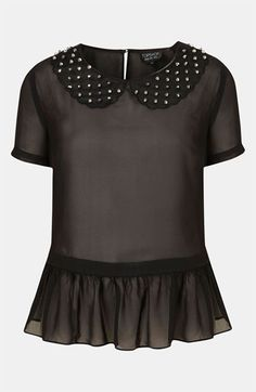 Topshop Studded Collar Peplum Top