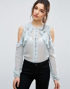 Buy Navy Asos Frills blouse for woman at best price. Compare Blouses prices from online stores like Asos - Wossel Global Blouse Volantée, Ruffle Blouse, Blue Blouse, Ruffle Top, Latest Fashion Clothes, Trendy Fashion, Fashion Online, Fashion Spring, Blouse Styles