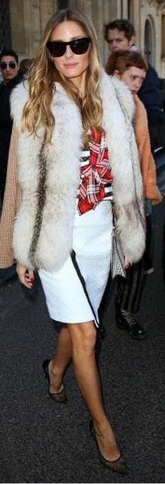 Who made  Olivia Palermo's brown cardigan sweater, red plaid shirt, and black sunglasses?