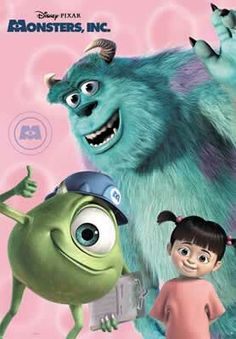 Monsters Inc: Mike, Sulley and Boo.