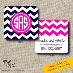 SADIE Business Cards - set of 40 / calling cards / chevron. $39.00, via Etsy.