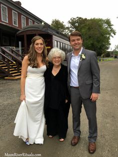 Officiant Zita Christian with newlyweds Jessy and Matt at the historic Essex Train Station in Essex, CT