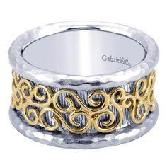 925 Silver/18k Yellow Gold Fashion Ladies' Ring   Gabriel & Co NY   LR6122MYJJJ