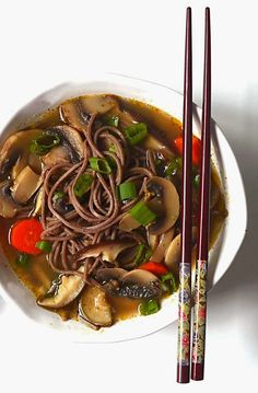 Sew French: Double Mushroom Soba Noodle Soup