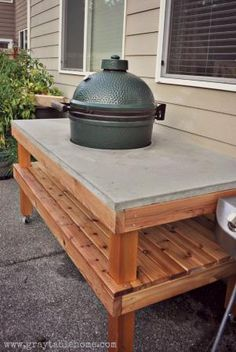 DIY Big Green Egg Grill Table with Concrete Top