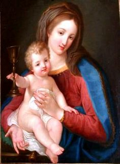 Madonna of the Precious Blood by Pompeo Batoni.     I'm still not clear if this is the Madonna that went to the missions preached by St. Gaspar and the missionaries or if the Madonna of the Missions is a modified version of this painting.