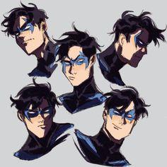 Read Robins from the story /Álbum de Robins by Afssgfdgj (Robin) with 166 reads. Nightwing Cosplay, Nightwing And Starfire, Starfire Comics, Nightwing Wallpaper, Richard Grayson, Arte Dc Comics, Arkham Knight, Fanart, Batman Family