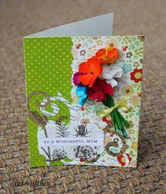 Flower bouquet card - Made by Siiri Viljanen - Käsitöitä flamencohame hulmuten