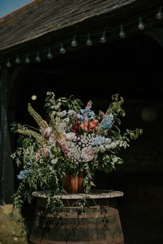 Outdoor Wedding at Elmley Nature Reserve with Colourful Wild Flowers Colourful Wild Flower Arrangement by Joanne Truby Rustic Wedding Flowers, Flower Crown Wedding, Woodland Wedding, Flower Bouquet Wedding, Floral Wedding, Wild Flower Wedding, Flower Bouquets, Purple Wedding, Fall Wedding