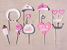 Save this pin -  It's a Girl Baby Shower Photo Booth Props; Rattle, Bib, Pacifer, Bonnet, Mil...
