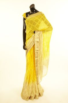Mysore Georgette- georgette sunflower yellow saree with blouse