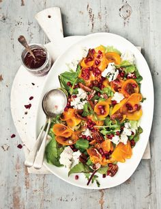 Candied Pecan and Persimmon Herb Salad with Pomegranate Vinaigrette by What Katie Ate Fall Recipes, Healthy Recipes, Holiday Recipes, Healthy Lunches, Healthy Salads, Veggie Recipes, Persimmon Recipes, Pomegranate Recipes, Gourmet