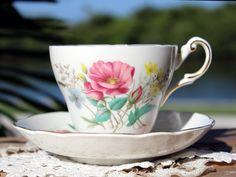 English Tea Cup and Saucer, Regency Teacup, Pink Florals 13593