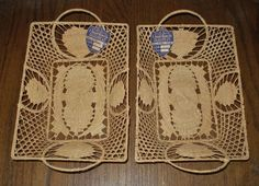 Very RARE Pair HAND CRAFTED BASKETS Italy 1940s NEW OLD STOCK with TAGS & Labels #LSKALNYBASKETCO
