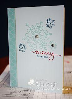 A cute snowflake card by Rita using Endless Wishes Photopolymer and Winter Frost dsp. - Very similar to the ones we are making at Stamp a stack Stamped Christmas Cards, Christmas Paper Crafts, Homemade Christmas Cards, Stampin Up Christmas, Christmas Cards To Make, Christmas Settings, Noel Christmas, Xmas Cards, Simple Christmas