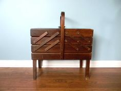 Vintage Sewing Box Basket Wooden Wood FourTier by MustyMusts, $84.00