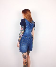 5d8b21dcb8a28 90 s Grunge Blue Jean Denim Overalls Dungarees Shorts    Women s size Small  S