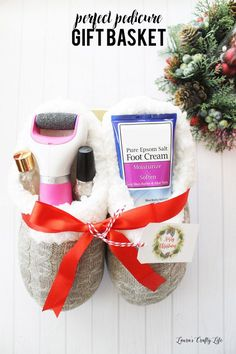 Grab some snuggly slippers and fill them with goodies for a pampering gift bundle anyone would love to receive!  Perfect Pedicure Gift Basket Idea and PRINTABLE gift tag! | Laura's Crafty Life #giftbaskets #giftbasketideas #diygiftbaskets #gifthampers #easygifts #giftideas #birthdaygifts #diybirthdaygifts #birthdaygiftideas