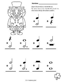 Leprechaun Music Math FREE Preview!   Complete the music math equations and color the cheeky leprechaun!  If you are interested in the resource containing TEN worksheets just like this one, click here:  Cheeky Leprechaun Music Math in Spanish  CLICK on the green FOLLOW ME button and be the first to know when new resources become available!