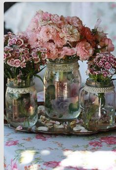 Jars and pretty flowers