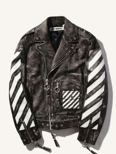 033c93322e Off White Heavy cowhide leather moto jacket that with Off White branded  screen printing.