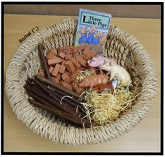 "Three Little Pigs story basket from Rachel ("",)"