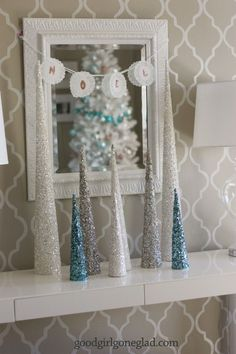 glitter trees in blue, silver, and white - These would make a fun craft project with your kids or significant other!