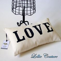 Love Pillow word Stuffed Pillow pillows love date by lolliecouture, $20.00