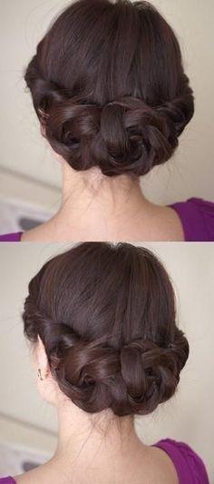 Wedding Hairstyles ~ Sleek plaid updo #wedding