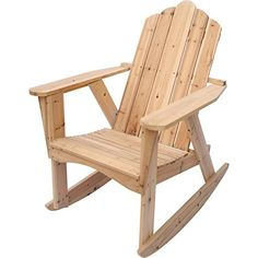 """Natural Wood Adirondack Rocking Chair Product SKU: PF09121. This unfinished wood rocking chair makes a great addition to any indoor or outdoor location. It is made from natural, unfinished solid wood that can be painted or stained to match your outdoor décor or left unfinished to age to a beautiful silver-gray. It features the classic, rustic style with high back and wide armrests, as well as curved rails that allows for a gentle, rocking motion. Product SKU: PF09121; Dimension: 36.6"""" W x..."""