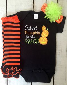 A personal favorite from my Etsy shop https://www.etsy.com/listing/246195258/cutest-pumpkin-in-the-patch-baby-girl