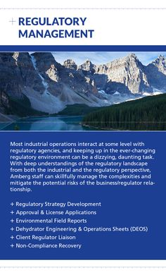 Contact Amberg for Regulatory Management at (403) 247-3088 or visit us online at www.amberg.ca