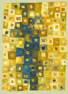 "image of quilt titled ""Costa del Sol II"" by Janet Kurjan © 2009 - image of quilt titled ""Costa del Sol II"" by Janet Kurjan © 2009 - Yellow Quilts, Modern Quilt Patterns, Quilt Modernen, Log Cabin Quilts, Strip Quilts, Contemporary Quilts, Motif Floral, Quilting Designs, Quilt Design"