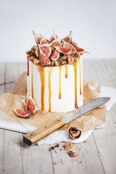 Fig, caramel, walnut and goat cheese cake