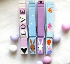 LOVE BUNNIES hand painted magnetic clothespins by SugarAndPaint, $10.00