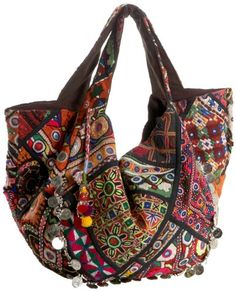 """$265.00 Tylie Malibu Prana Hobo style Bag.  Each bag is hand crafted from vintage tribal tapestry. Every Prana bag is a unique one of a kind item. Variations in color and design are expected on every hand made item.      This multicolored embroidered cotton bag will fill all of your looks with vibrant style. Magnetic closure. 100% Cotton embroidery bag - 100% Cotton lining with exterior zipper 20"""" ( ..."""