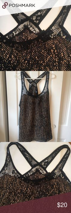 Torrid black and brown satin and lace top Great tank top. Good top that you can dress up or down bust 50 inches length 21.5 torrid Tops Tank Tops
